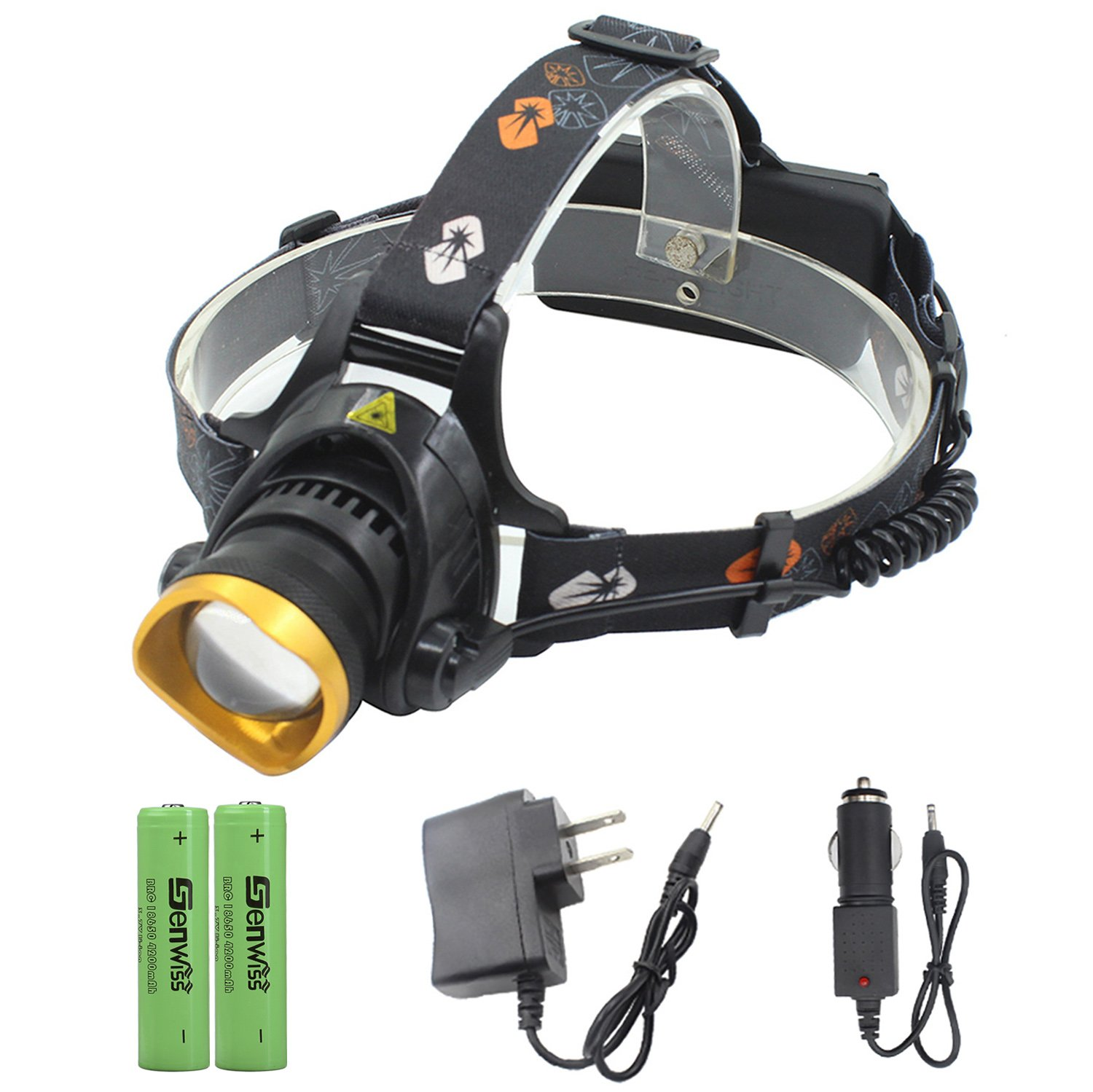 LED Headlamp Super Bright Headlight - Genwiss 3000 lumen T6 Waterproof Zoomable Headlamp with Rechargeable Batteries, Car Charger, Wall Charger for Camping Biking Hunting Fishing