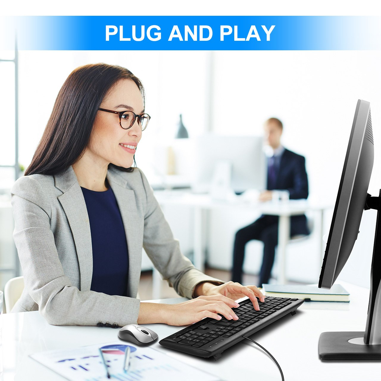 VicTsing Spill-Resistant Wired Keyboard, Computer USB Keyboard with 5 Feet USB Cable and Foldable Stands, Support Windows 10/8/7/Vista/XP, Mac, Linux, Black by VicTsing (Image #6)