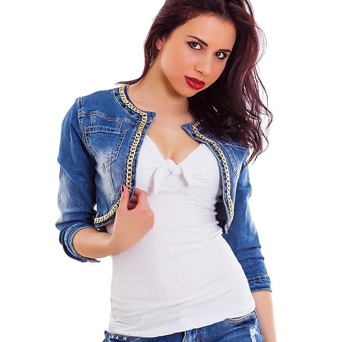 info for bab06 161ab Toocool - Giacca Donna Jeans Bolero Corto Catena Senza Chiusura Giubbino  Nuovo H581