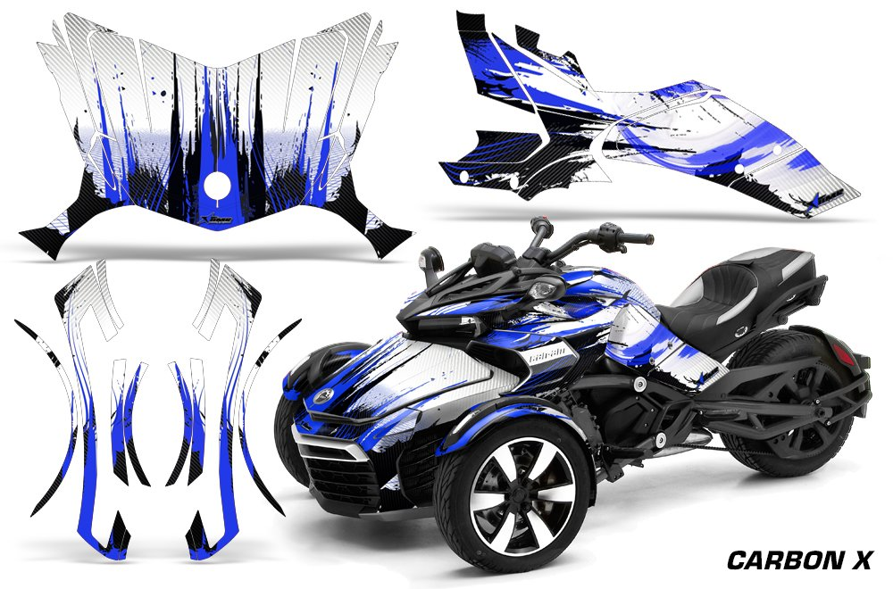 AMR Racing Graphics Can-Am Spyder F3 Roadster Vinyl Wrap Kit - Carbon X Blue