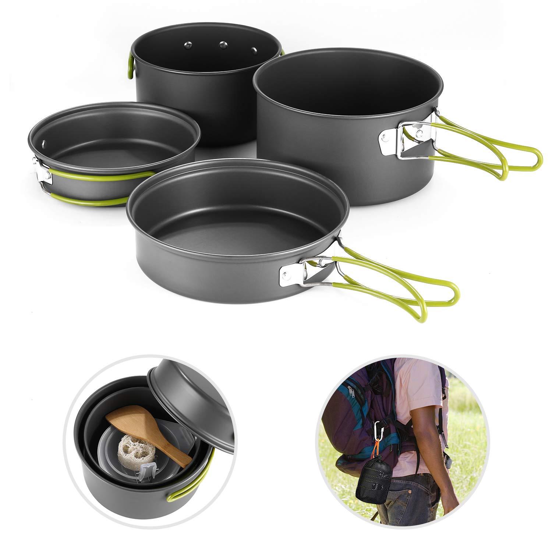 Antihaft Cookware f/ür Picknick BBQ Backpacking Trekking Portable Tragbare Kochausr/üstung Outdoor Camping Kochgeschirr Set und Pfannenset f/ür 2-3 Personen Mini Leicht Aluminium Topf BPA Frei