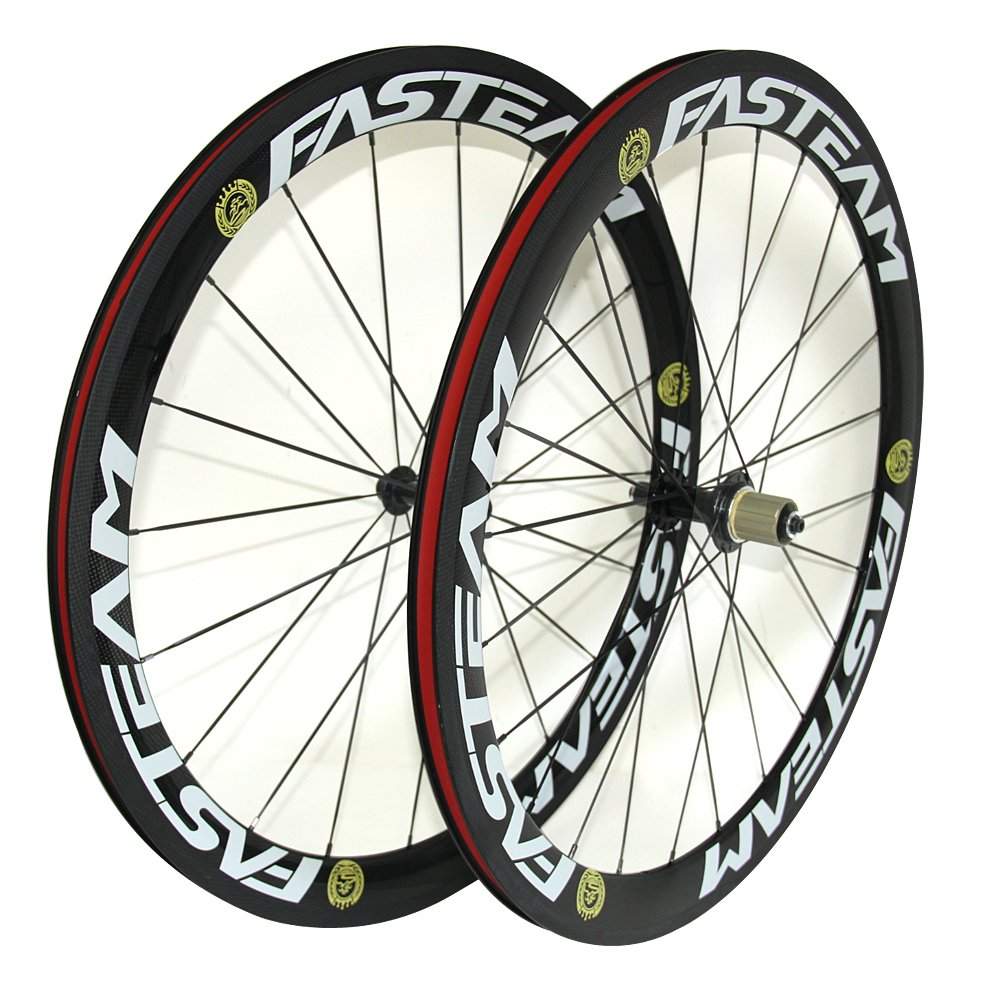 Fasteam Carbon Fiber Road Bike Wheels 700c Clincher