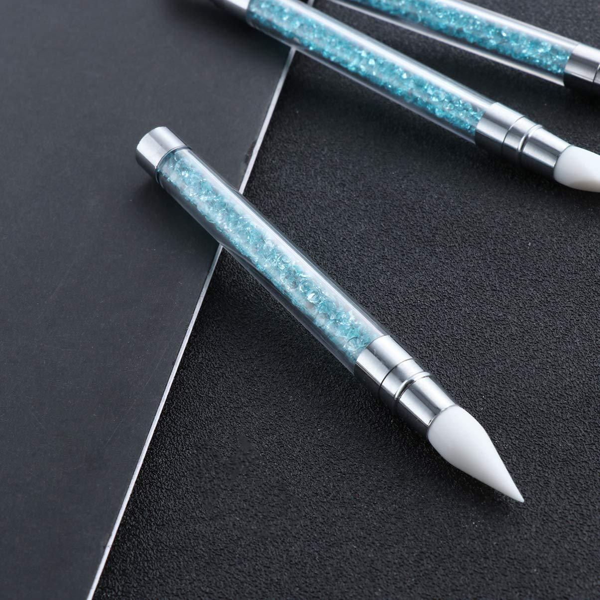 Nail Art Sculpture Pen Set Silicone Double End Handle Nail Brush Manicure Tool 3pcs (Sky Blue)