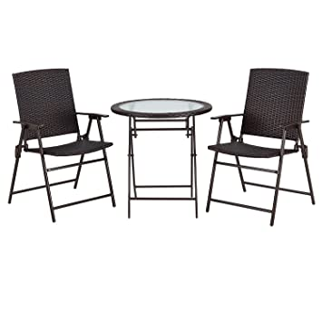 PATIO TREE Outdoors 3Pcs Wicker Folding Bistro Set, 2 Armed Wicker Chair+ 1  Glass Top