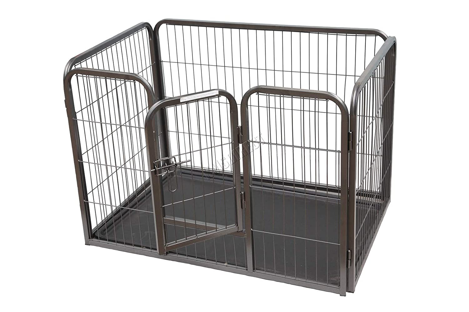 FoxHunter Heavy Duty Foldable Pet Play Pen Enclosure Metal Whelping Playpen Dog Puppy Exercise Run Cage with Tray for Dog Cat Rabbit Duck Chicken Small FH-MPP-02S Hammered Silver