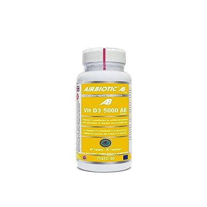 Airbiotic AB - Vitamin D3 AB 5.000 UI - 90 tabletas. Vitaminas para huesos,