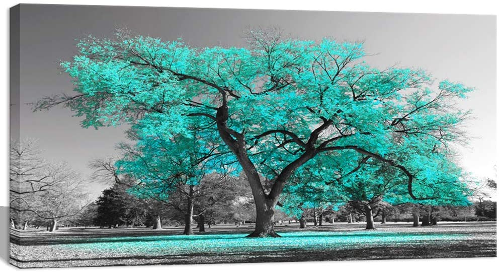 Visual Art Decor Black White Teal Tree Canvas Wall Art Prints Framed and Stretched Poster for Living Room Bedroom Ready to Hang