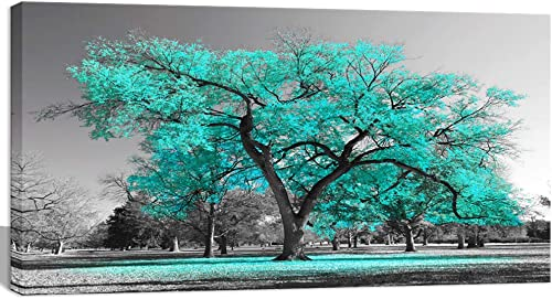 Visual Art Decor Black White Teal Tree Canvas Wall Art Prints Framed and Stretched Poster