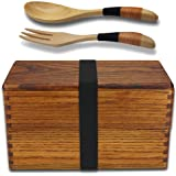 Lunch boxes, Japanese Traditional Natural Square Wooden Lunch Containers Women's Men's Adult kids Wood Bento Box with Spoon Fork kit