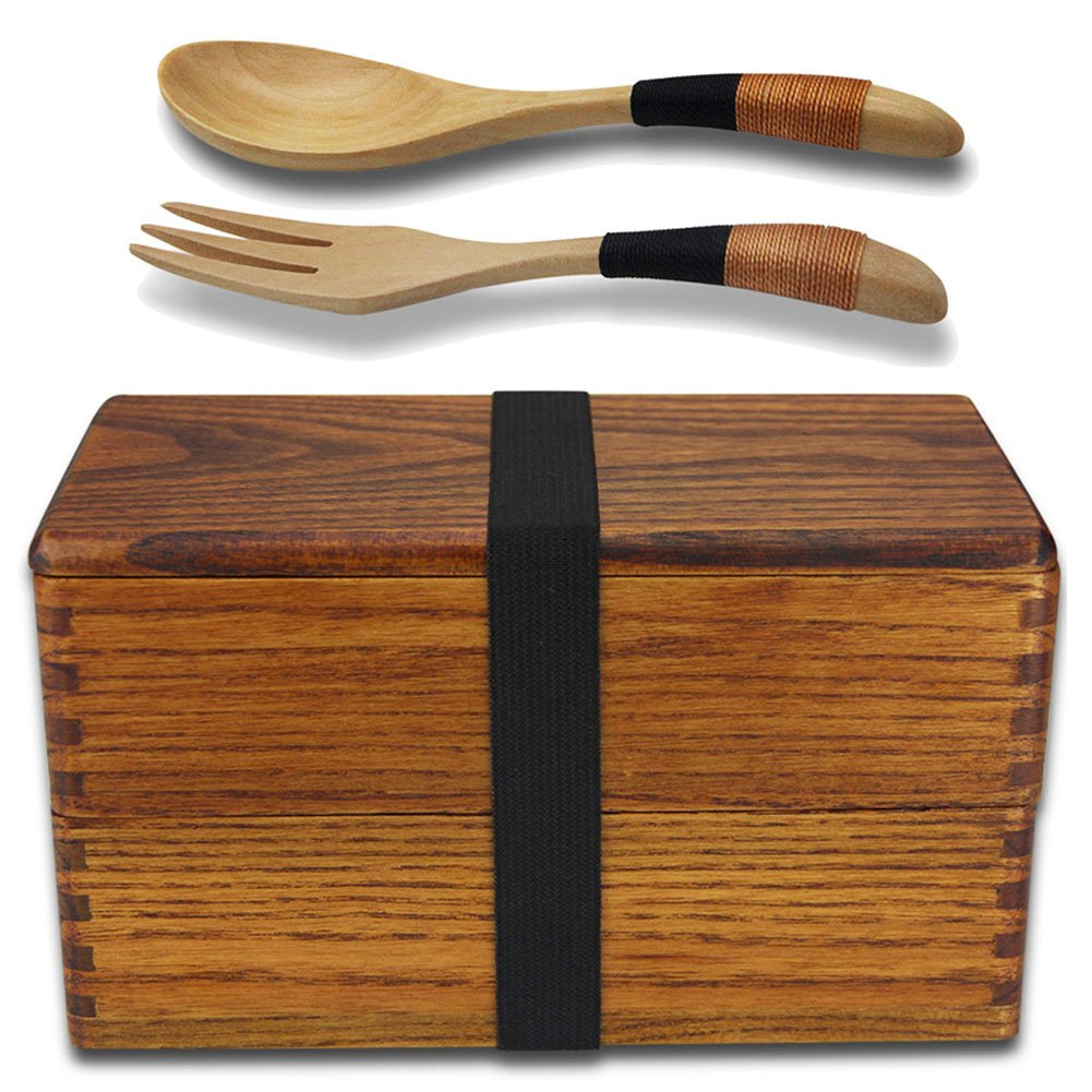 Lunch Boxes, AOOSY Japanese Vintage Traditional Natural Square Wooden Lunch Containers Women