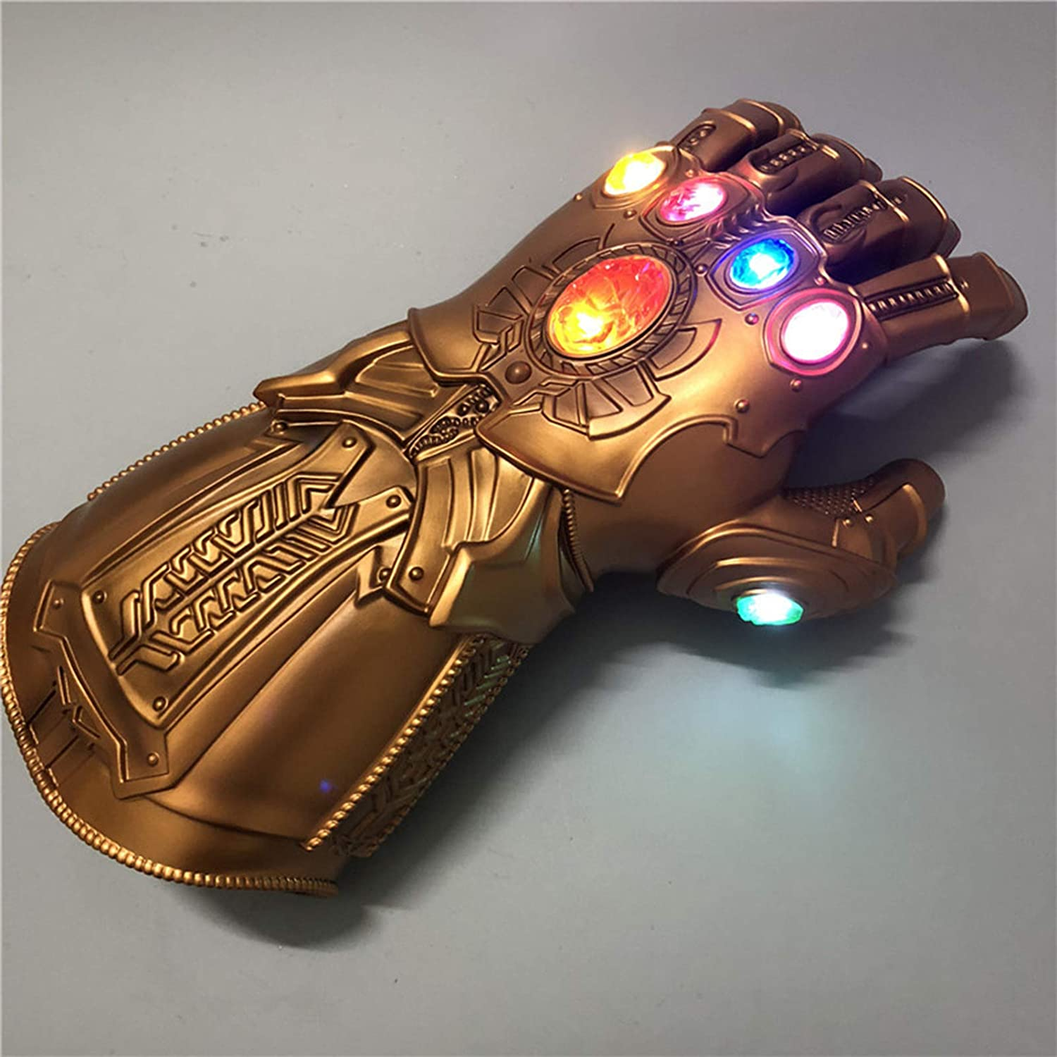 ANGXIN Tanos Luminous Infinite Gloves Cos Iron Man Glowing Gloves PVC Cosplay Superhero Props Play Gants pour Enfants Jouet,Golden One Size for Adults