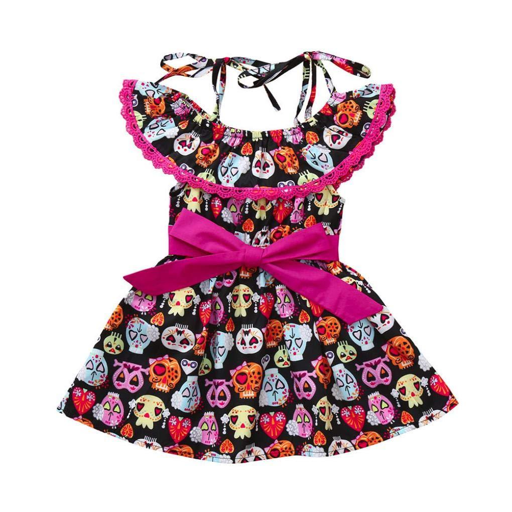 Cartoon Pumpkin Full Print Dress Off Shoulder Ruffles Collar Princess Dress Little Baby Girls Halloween Costumes
