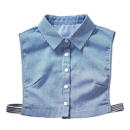 7572db5562e8 Vpang Stylish Detachable Half Shirt Blouse False Collar Blue Stripes ...