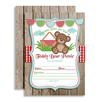 Amazon teddy bear picnic birthday party invitations ten 5x7 teddy bear picnic birthday party invitations ten 5quotx7quot fill in cards with filmwisefo
