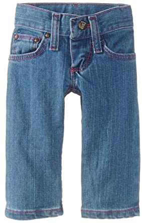 9d4a662979e Wrangler Baby Girls' Five Pocket Styling with Embroidery and Patch Jean,  Blue, 6