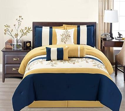 7 Piece Modern Oversize Yellow Navy Blue Beige Leaf Embroidered Comforter Set Queen Size Bedding