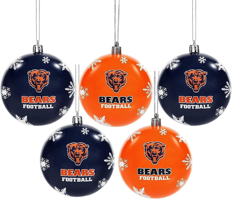 FOCO NFL Unisex 2016 5 Pack Shatterproof Ball Ornament Set