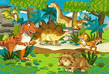10x12 FT Photo Backdrops,Different Types of Dinosaurs Natural Jungle Environment T-Rex Triceratops Cartoon Background for Kid Baby Boy Girl Artistic Portrait Photo Shoot Studio Props Video Drape