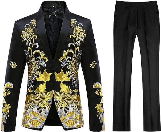 Mens 2 Piece Print Suit Floral Party Dress Jacket Slim 1 Button Blazer Pants