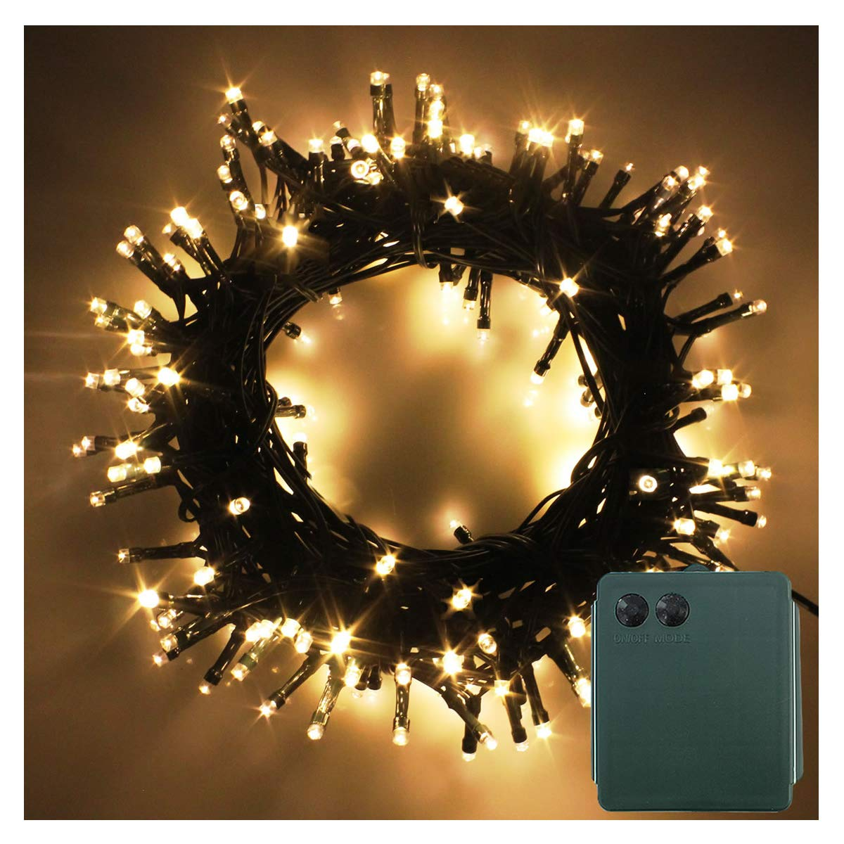 PMS 200 LED String Fairy Lights Green Cable Battery Power Operated Waterproof Indoor Outdoor for Christmas Tree Xmas Party Garden Decoration 200 LEDs Green Cable Warm White
