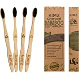 Kimz bamboo natural toothbrush charcoal black soft bristles biodegradable environmental ecofriendly compostable family pack case-pack of 4