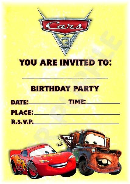 Disney Cars 3 invitaciones de fiesta de cumpleaños - diseño ...