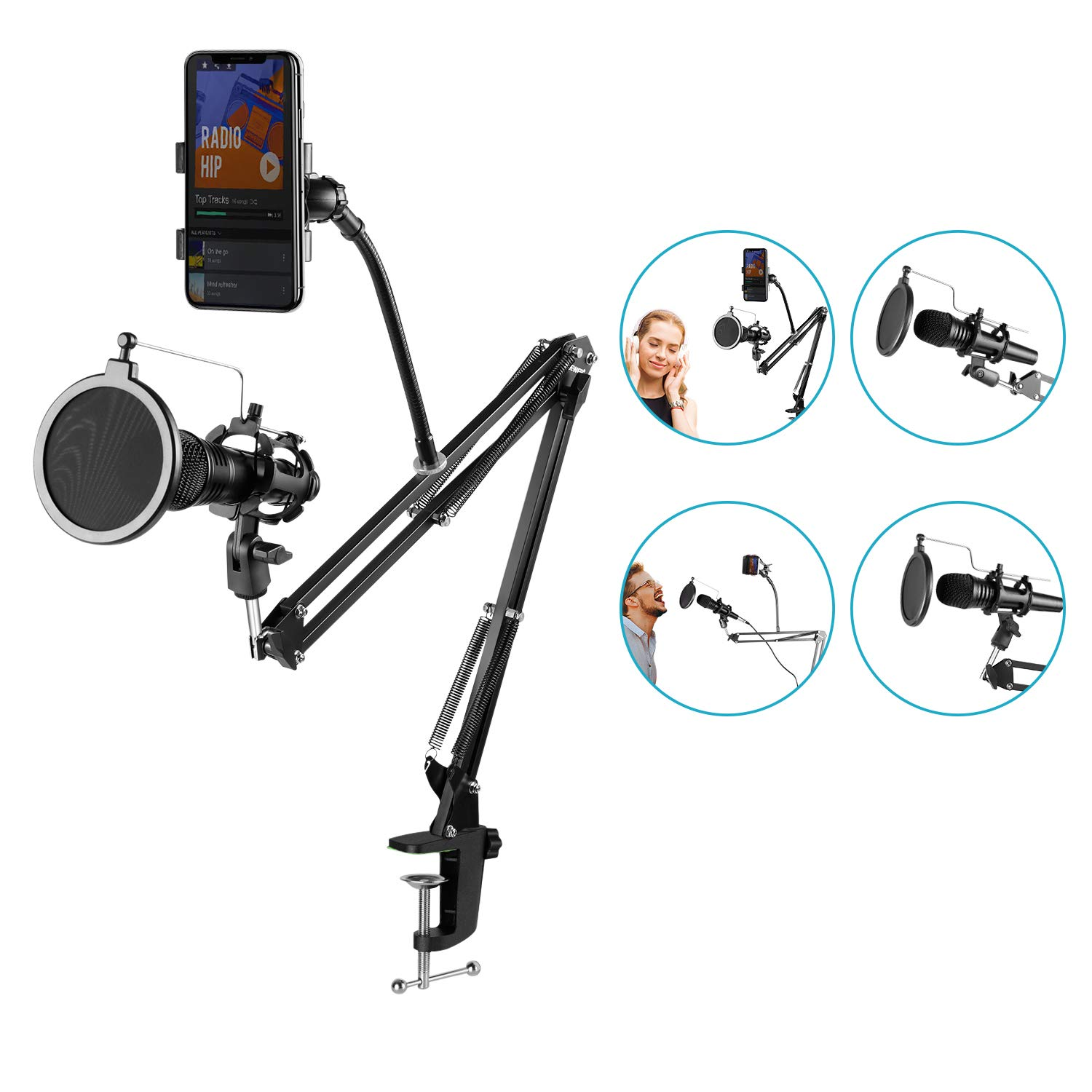 Neewer Pro Desktop Microphone Tripod Stand with Shock Mount Microphone Holder and Pop Filter Mask Shield for Studio Vocal Recording Podcasts, Online Chat, Meetings and Lectures(NW-2) 40093306