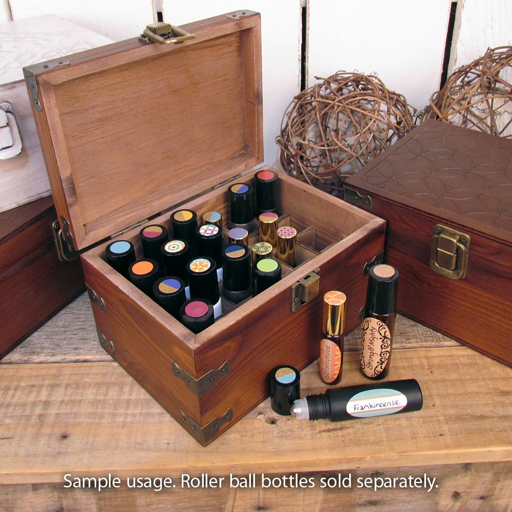 Mosaic Design Wood Storage Box for ROLL-ON Bottles; Holds 24 Essential Oil Aromatherapy Roll On Bottles by Rivertree Life