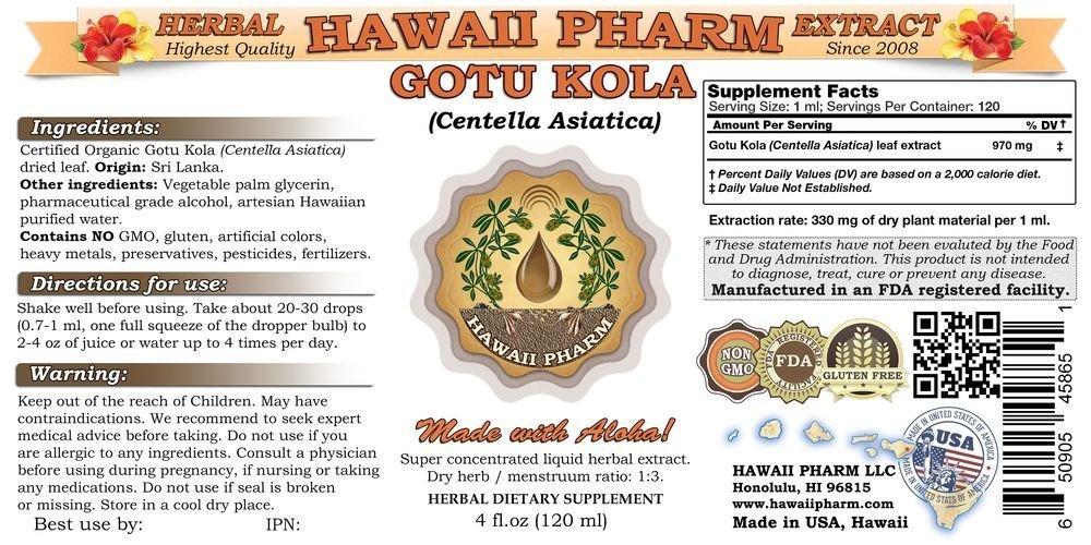 Gotu Kola Liquid Extract, Organic Gotu Kola Centella Asiatica Tincture 4 oz