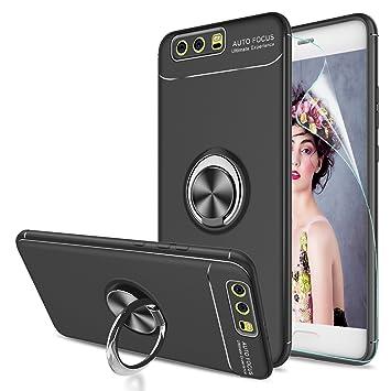LeYi Funda Huawei P10 con Anillo Soporte,360 Grados Giratorio Ring Grip con Kickstand Gel TPU de Silicona Bumper Case Carcasa Fundas Huawei P10con HD ...