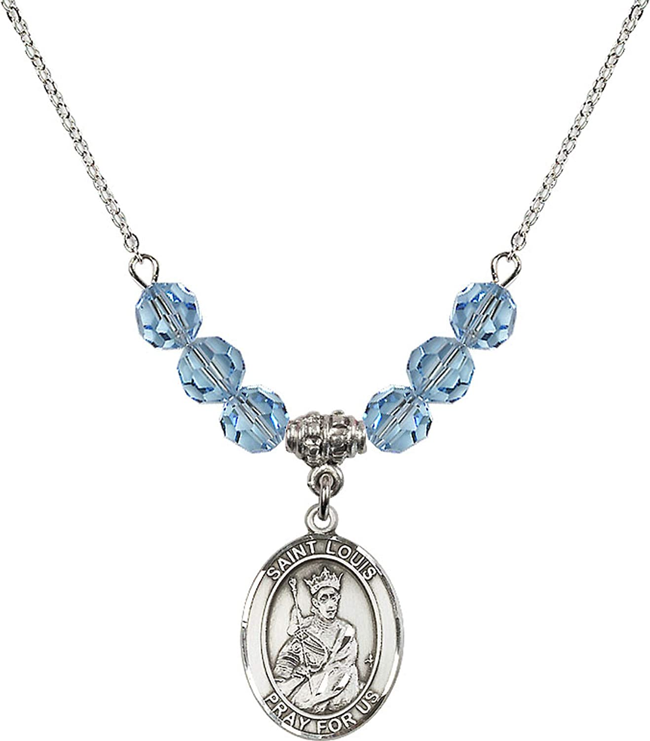 Bonyak Jewelry 18 Inch Rhodium Plated Necklace w// 6mm Blue March Birth Month Stone Beads and Saint Louise de Marillac Charm