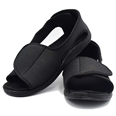 c1055260139 W Lesvago Men s Open Toe Diabetic Sandals - Extra Wide Width  Arthritis Edema Footwear MS6010M ...