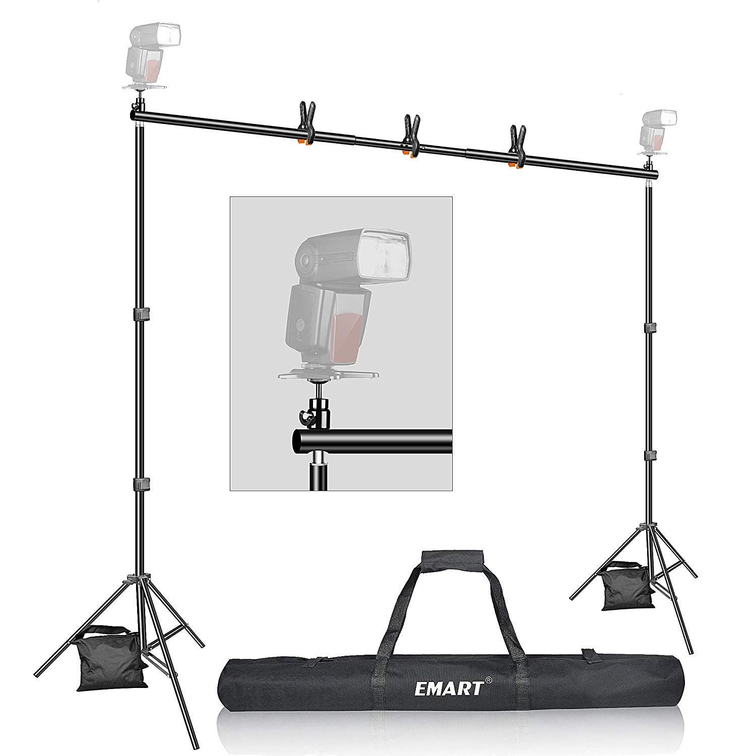 Backdrop Stand, Emart 7x10ft Photo Video Studio Muslin Background Stand Backdrop Support System Kit with Mini Ball Head, Photography Studio by EMART