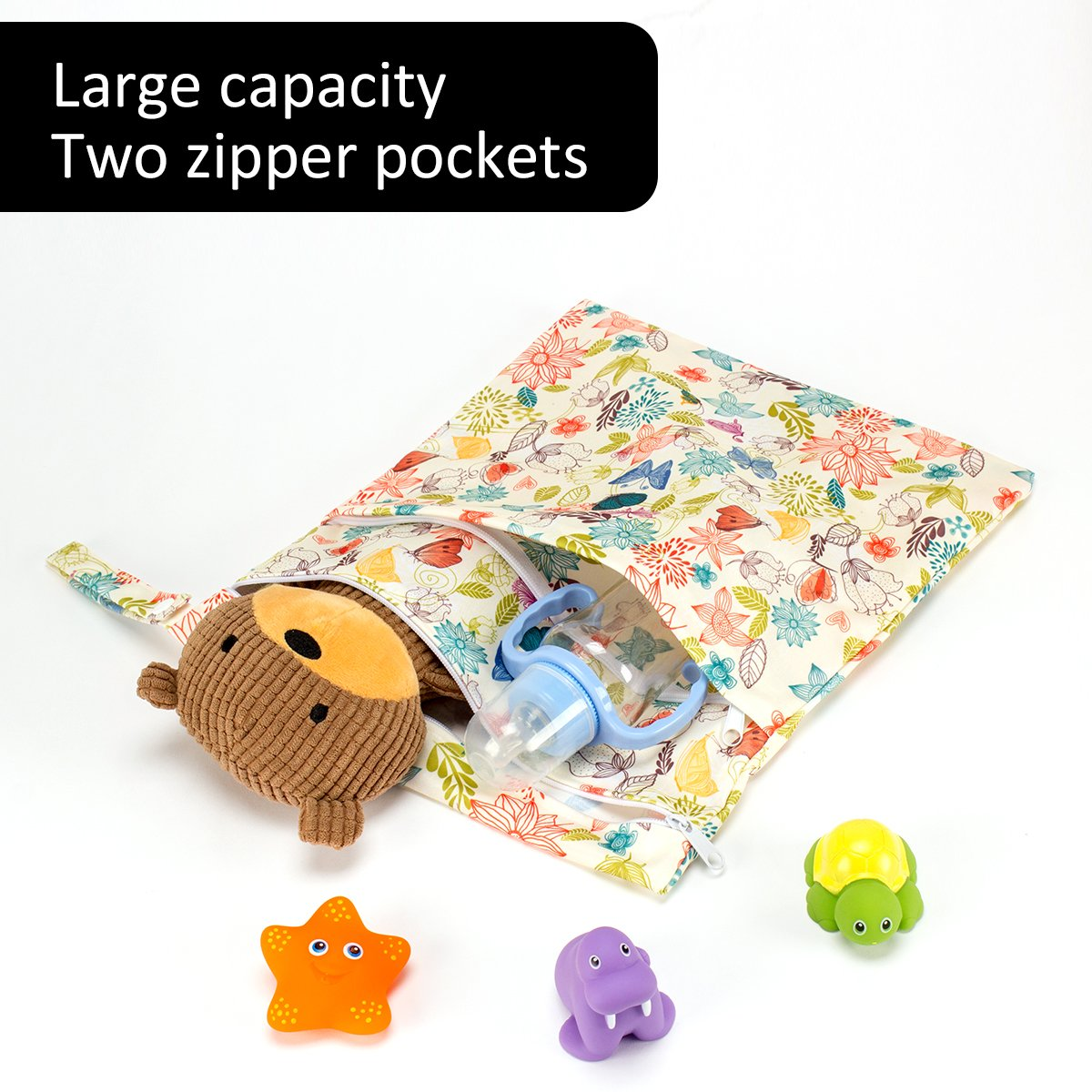 Biubee 3 Pack Wet Dry Cloth Diaper Bags - Baby Waterproof Washable Reusable Hanging Diaper Organizer (Pack of 3 New) by Biubee (Image #4)