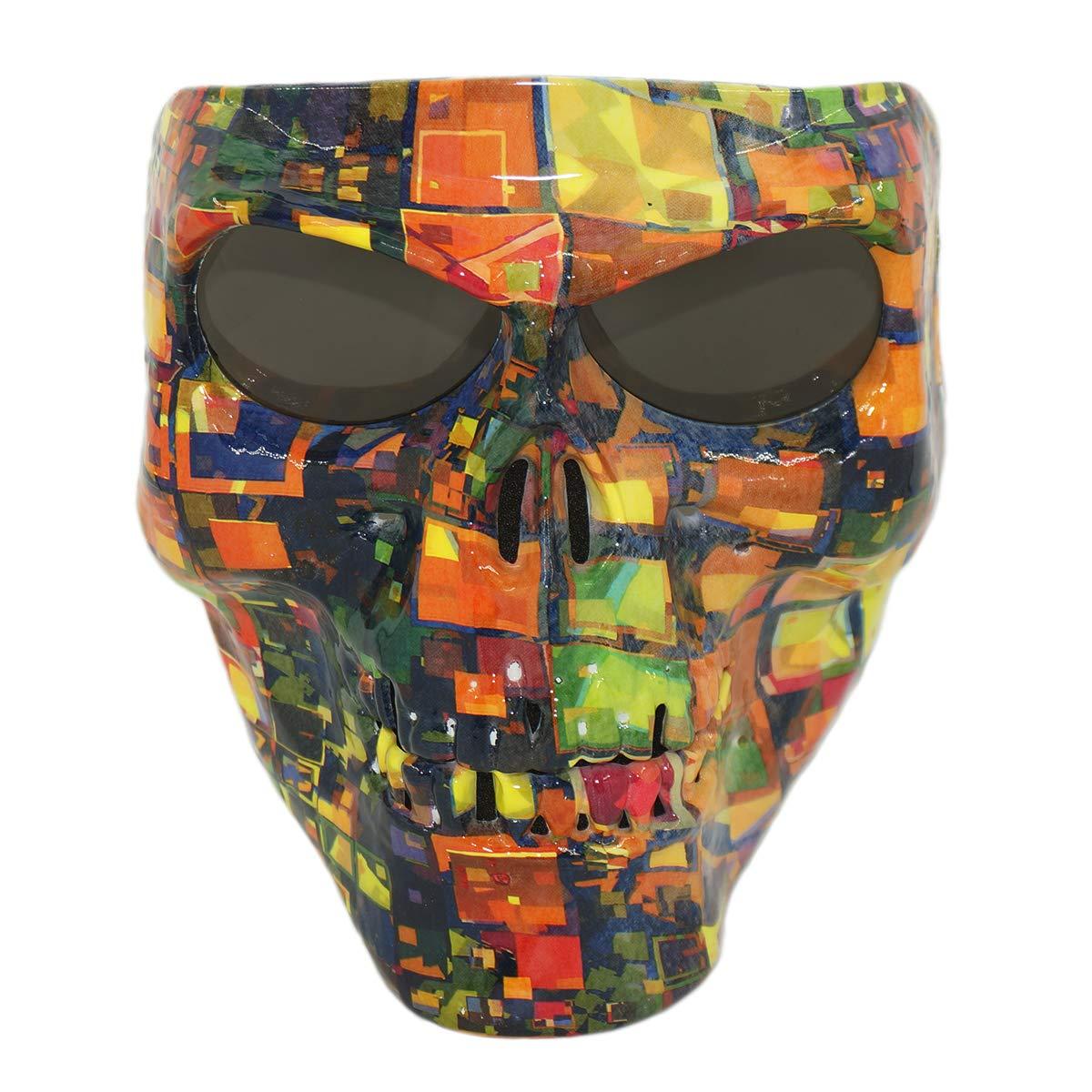 Vhccirt Motorrad-Schutzmaske, mit polarisierten Brillenglä sern, Skimaske, Halloween Totenkopfmaske Herren Black Carbon Fiber
