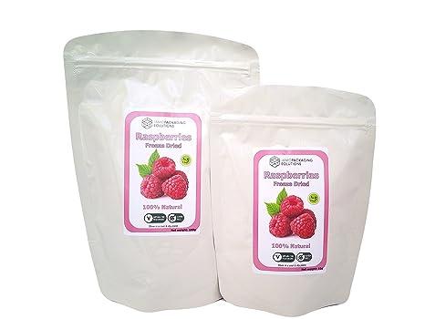 Polvo de frambuesas liofilizadas 100% natural, sin gluten, sin azúcares añadidos, sin conservantes, merienda de fruta saludable (100g)