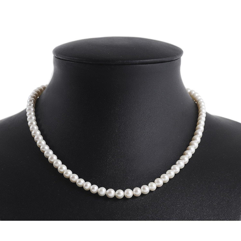 Brautschmuck perlenkette  Perlenkette Kette Collier echte Perlen creme-weiß klassisch ...