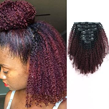 AmazingBeauty 8A Grade 3C 4A Big Afro Kinkys Curly Ombre Hair Extensions  Double Weft Real Remy...