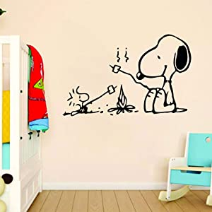 Snoopy Wall Decals for Kids Bedroom / Snoop Dog Boys Room Decor / Vinyl Art Stickers Decal Childrens Rooms / Cartoon Character Fun Look Camping Fire Outdoors Best Friends Size 20x20 inch