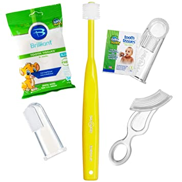 Amazon.com : Brilliant Infant Oral Care Set by Baby Buddy, Yellow/Clear : Baby