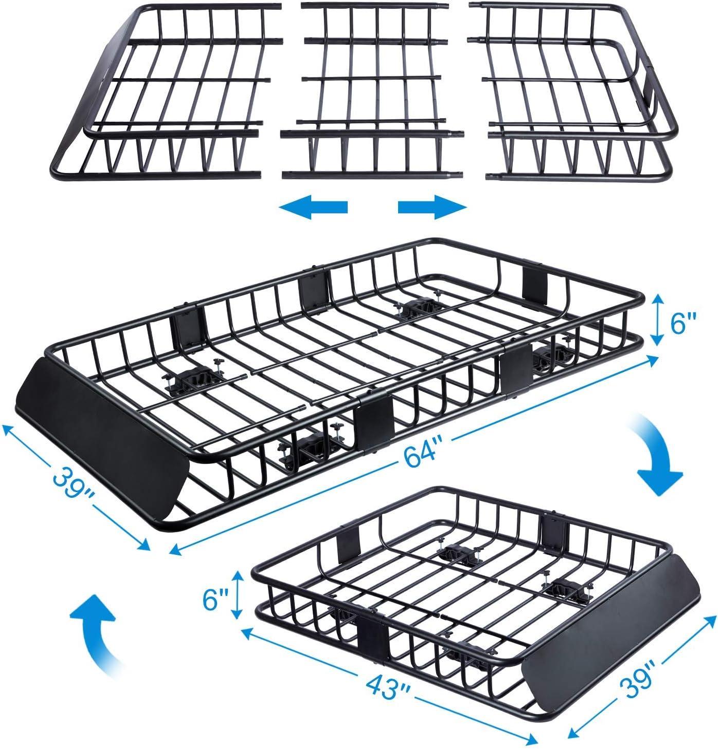 Top Luggage Holder Basket with 250lb Capacity Tiptiper Rooftop Cargo Basket 64 43 Universal Roof Rack Cargo