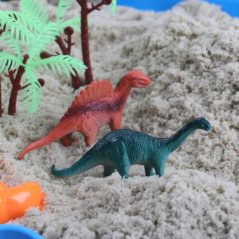 kit de bac /à Sable Comprend 20 moules de Mise en Forme Ccfoud Kit de Sable 2 LB de Sable et bac /à Sable 12 Figurines Dino Sable de Dinosaure Sandbox
