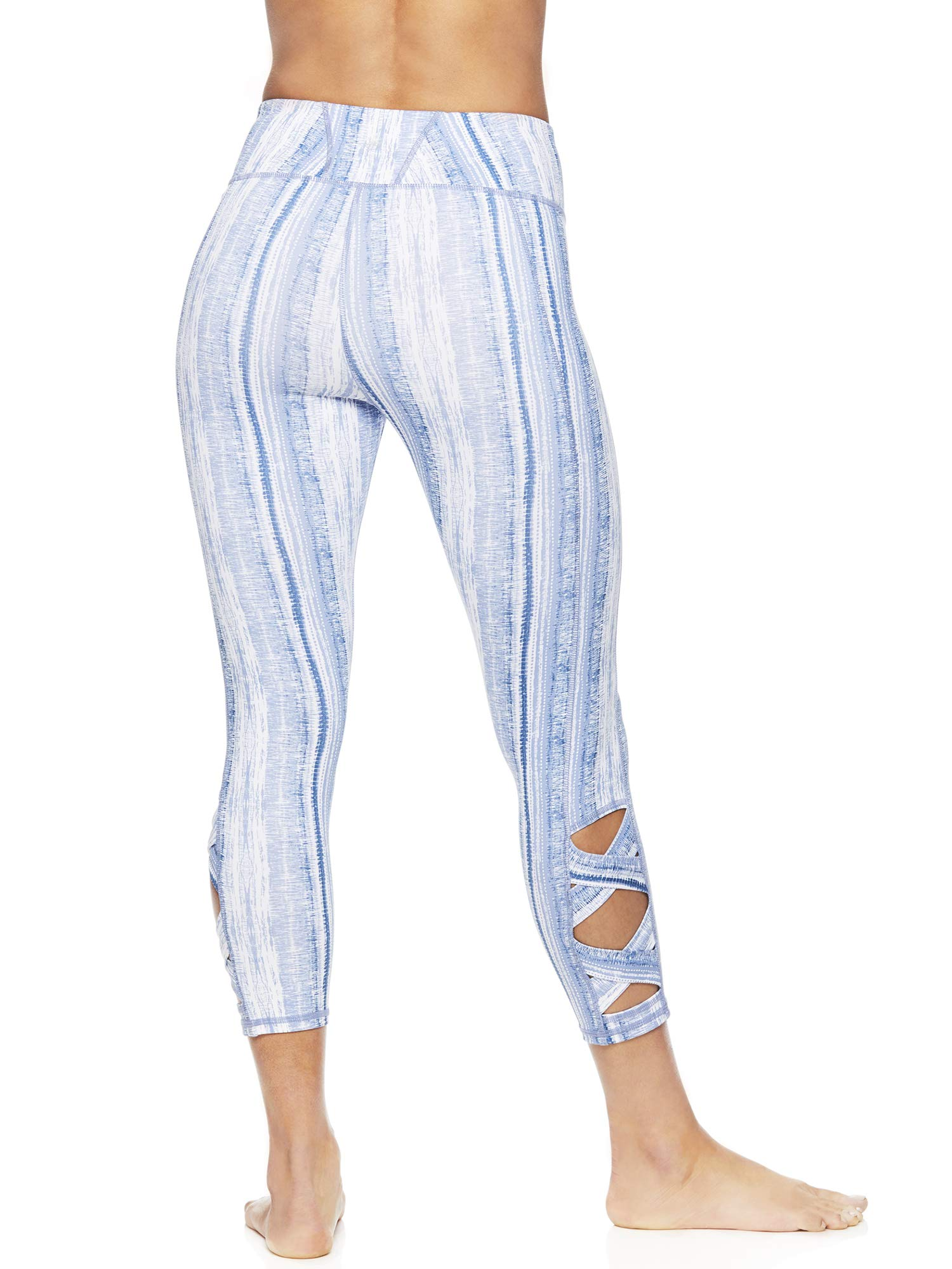 Gaiam Women's Capri Yoga Pants - Performance Spandex Compression Legging - Bright White OM Lotus White, X-Small