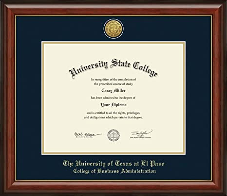 Amazon Com University Of Texas At El Paso College Of Business Administration Officially Licensed Phd Gold Printed Medallion Diploma Frame Diploma Size 14 X 11