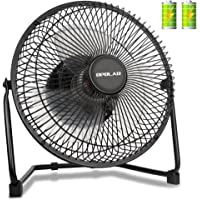 OPOLAR Biggest Battery Operated Desk Fan with TWO batteries, Rechargeable USB Fan with 9 Inch Metal Frame,Strong Air,Lower Noise,Two Speeds,Personal Cooling Fan for Home & Office & Hurricane & Camping
