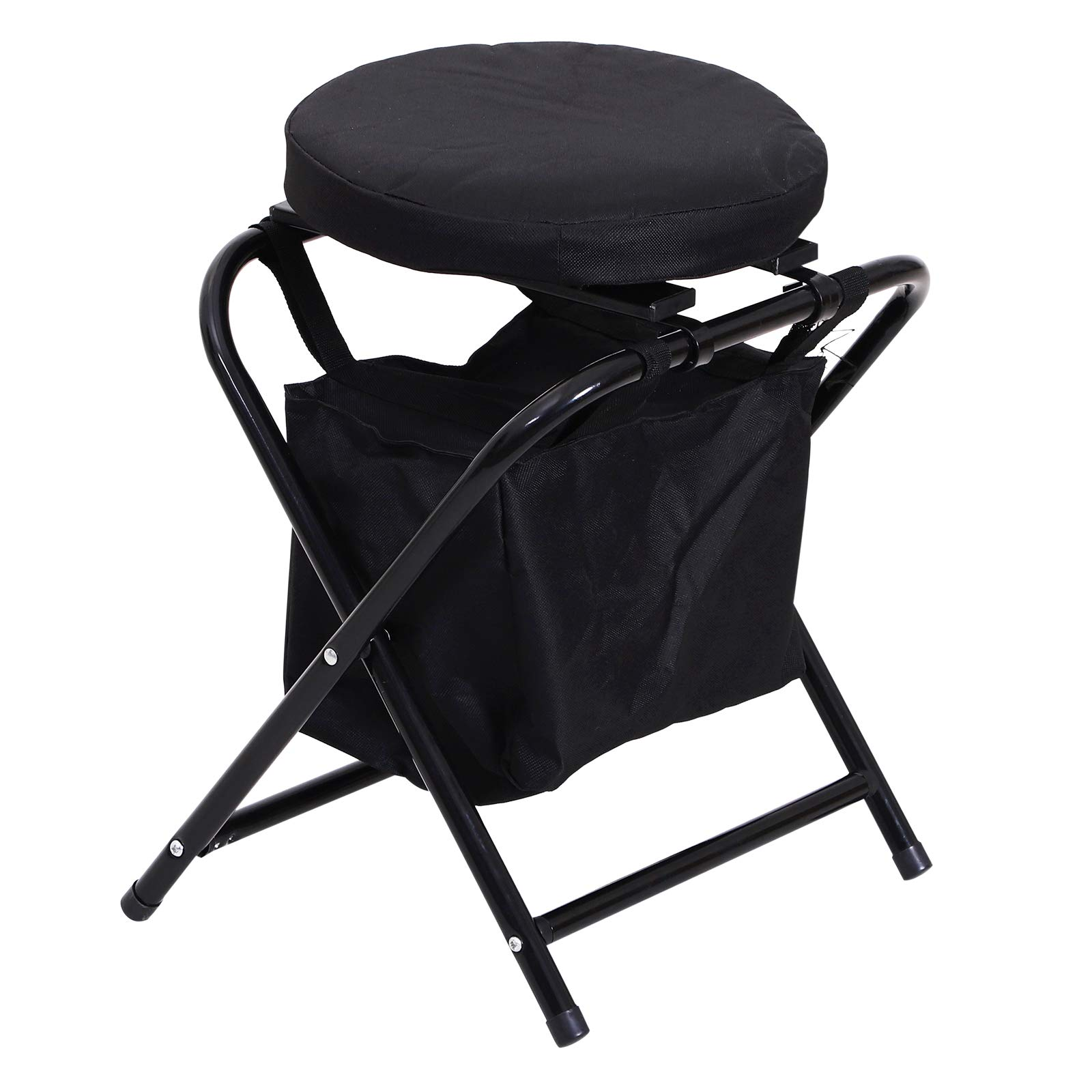 Outsunny 19'' 360 Degree Swivel Foldable Travel Camping Stool with Storage Bag - Black