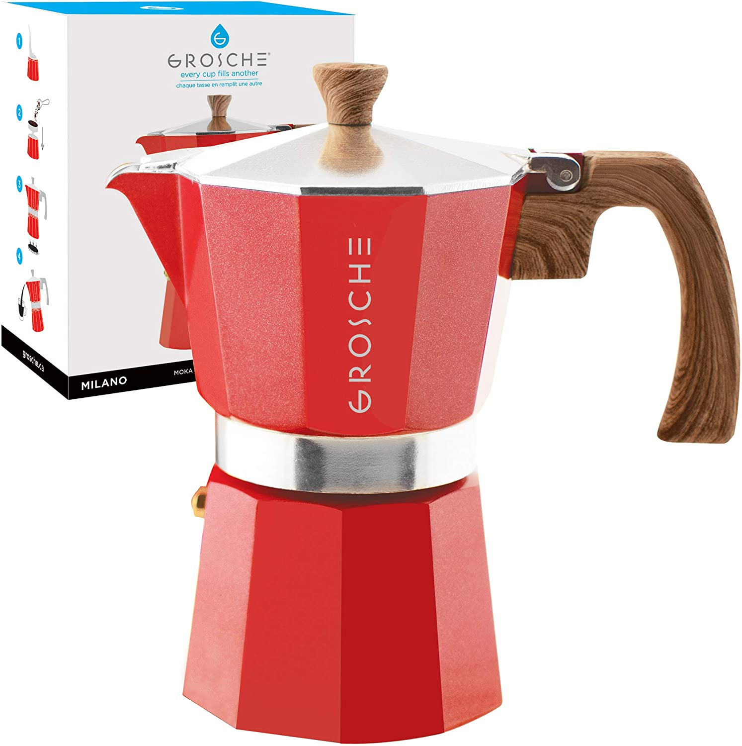 GROSCHE Milano Stovetop Espresso Maker Moka Pot 6 Cup, 9.3 oz, Red - Cuban Coffee Maker Stove top Coffee Maker Moka Italian Espresso greca Coffee ...