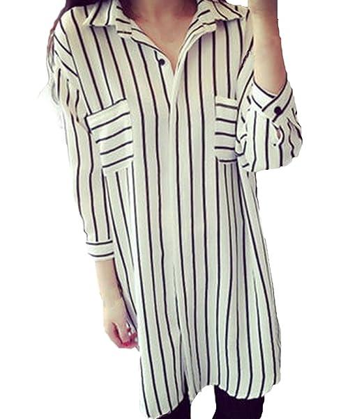 Fortunings JDS Blusa de rayas largas de moda blusa suelta vestido de la camisa para las mujeres: Amazon.es: Ropa y accesorios