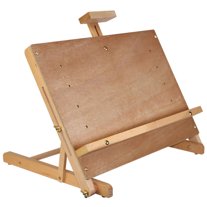 U.S. Art Supply Solid Studio Adjustable Wood Tabletop Artist Easel