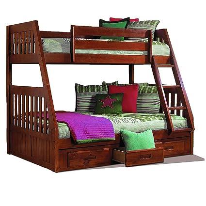 Amazon Com Gt Bunk Beds Kids Merlot Wooden Twin Full Bed Frame